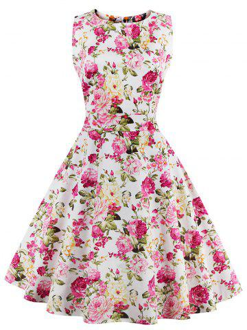Store Flare Knee Length Floral 50s Swing Dress ROSE MADDER M