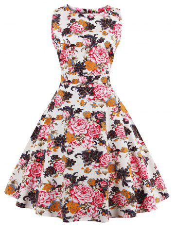 Best Flare Knee Length Floral 50s Swing Dress RED XL