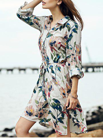 Fashion Retro Polo Collar Floral Print Long Sleeve Tie Front Dress For Women