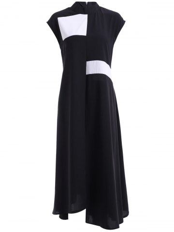 Best Trendy Color Block Stand Collar Irregular Hem Dress For Women