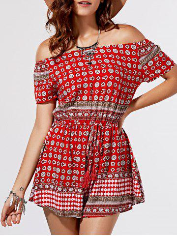 Store Chic Totem Print Off The Shoulder Short Sleeve Romper For Women