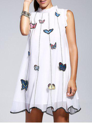 Discount Elegant Sleeveless Butterfly Embroidery A Line Women's Dress