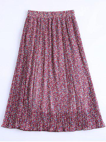 Cheap Stylish Chiffon Floral Print Pleated Skirt For Women