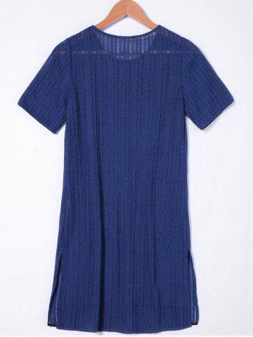 Chic Short Sleeves Casual Shift Dress - XL NAVY BLUE Mobile