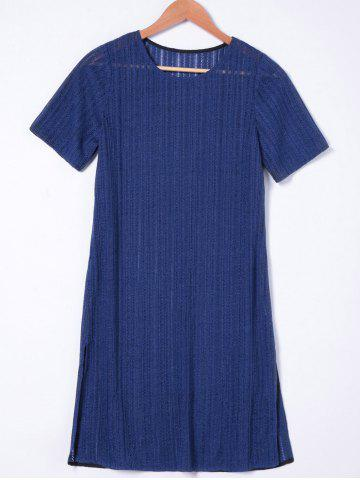 Discount Short Sleeves Casual Shift Dress NAVY BLUE M