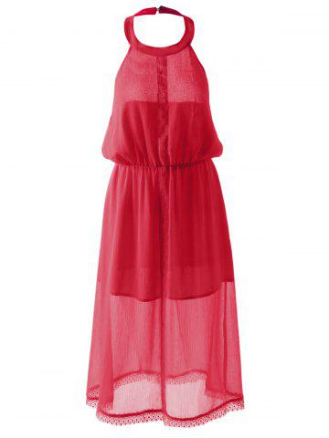 Affordable Slimming Halterneck Backless Chiffon Dress RED S
