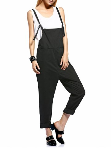 Best Fashionable Front Slit Pockets Drop Crotch Women's Overalls