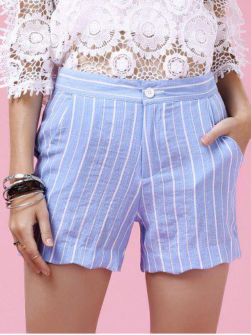 Sale Sweet Wavy Hem Design Striped Shorts For Women