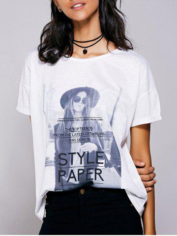 Buy Casual Short Sleeves Figure Print T-Shirt For Women WHITE L