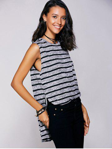 Store Casual Jewel Neck Striped Slit Top For Women - M BLACK Mobile