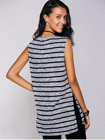 Hot Casual Jewel Neck Striped Slit Top For Women - S BLACK Mobile