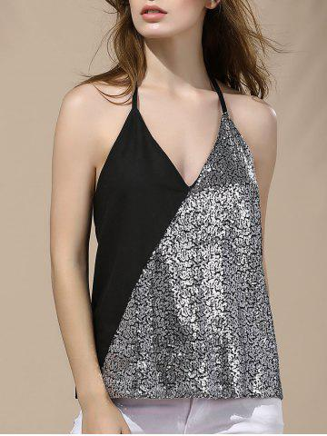 Affordable Halter Sequin Backless Tank Top SILVER XL