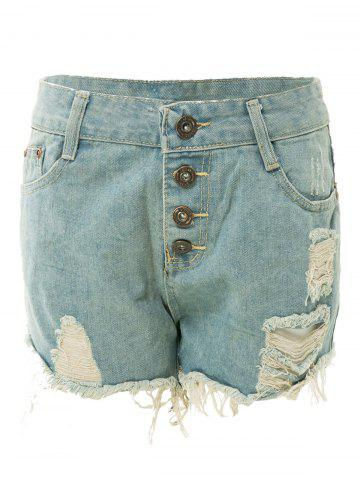 Trendy Bleach Wash Frayed Tassel Denim Jeans Shorts For Women