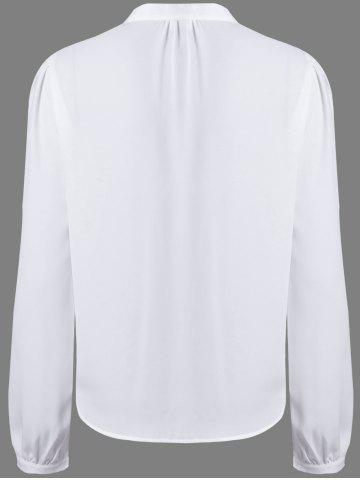 Affordable Alluring V-Neck Long Sleeve Hollow Out Women's White Blouse - M WHITE Mobile