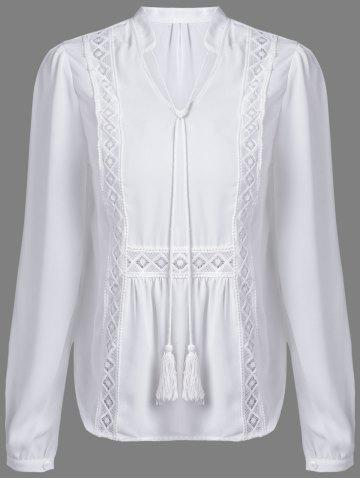 Discount Alluring V-Neck Long Sleeve Hollow Out Women's White Blouse - M WHITE Mobile