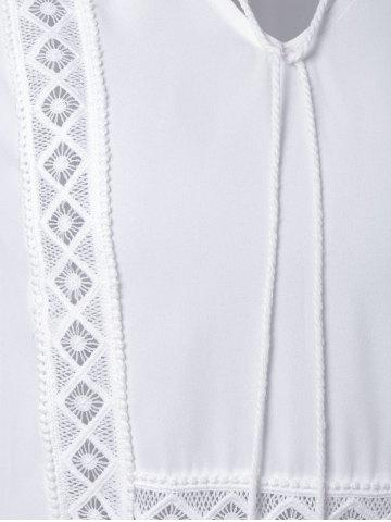 Fashion Alluring V-Neck Long Sleeve Hollow Out Women's White Blouse - S WHITE Mobile