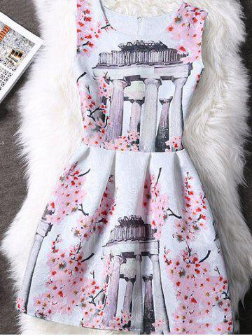 Cheap Concealed Zipper High-Waist Print Dress