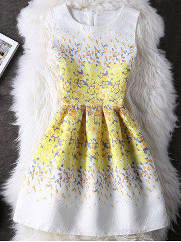 Buy Refreshing Guipure Floral Print High Waist Dress