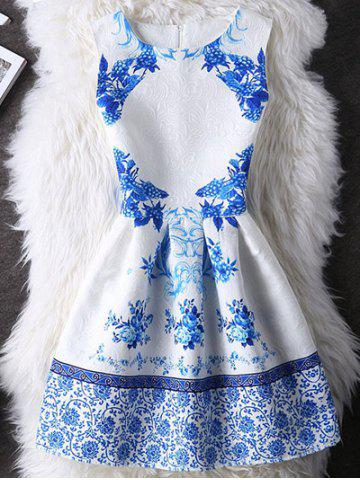 Best Elegant Guipure Folral Print Mini Dress WHITE XL