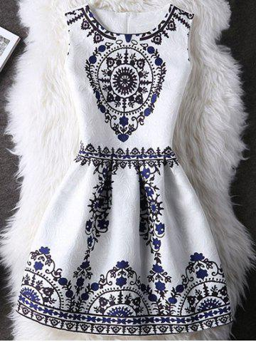 Outfit Tribal Pattern Zipper Design A Line Dress