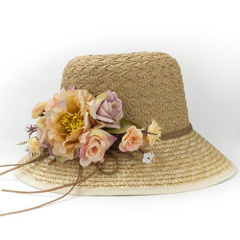 Trendy Chic Faux Flower Embellished Outdoor Seaside Sunscreen Straw Hat For Women