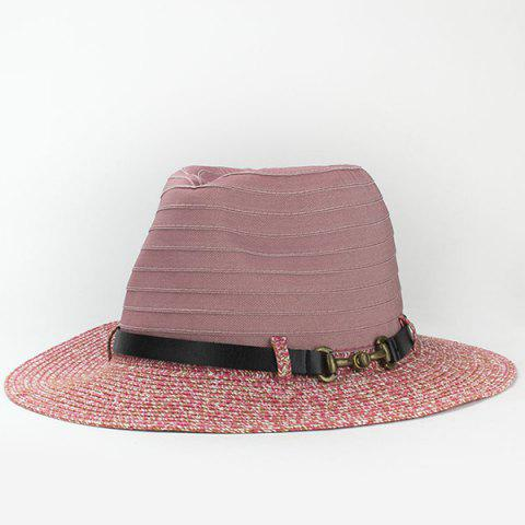 Online Trendy PU Belt Embellished Jazz Style Sunscreen Straw Hat