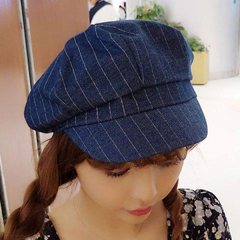 Chic Chic Slender Vertical Stripe Pattern Retro Artistic Style Painter Hat For Women