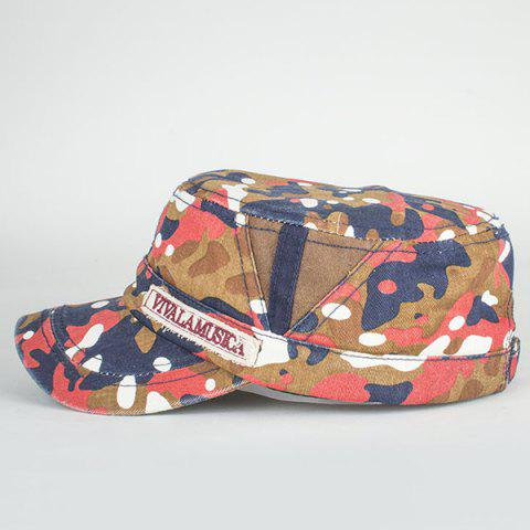 Best Letters Applique Army Camouflage Print Cool Summer Military Hat - LIGHT RED  Mobile
