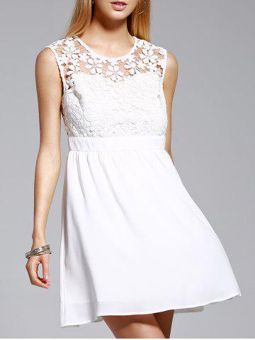 Unique Women's Stylish Jewel Neck Sleeveless Lace Spliced Dress WHITE L