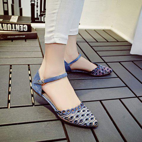 New Leisure Floral Print and Cloth Design Flat Shoes For Women - 36 BLUE Mobile