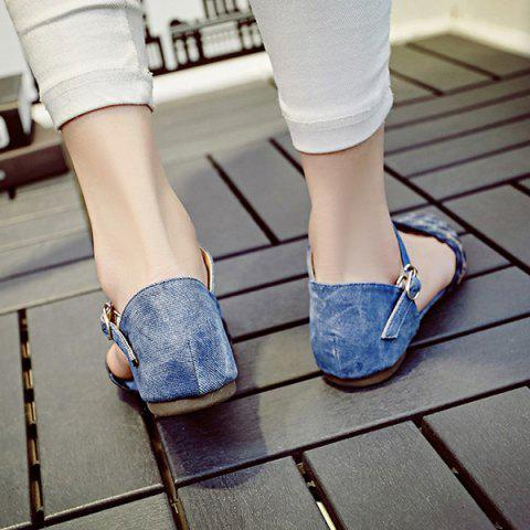 Trendy Leisure Floral Print and Cloth Design Flat Shoes For Women - 36 BLUE Mobile