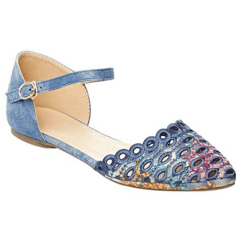 Outfit Leisure Floral Print and Cloth Design Flat Shoes For Women - 36 BLUE Mobile
