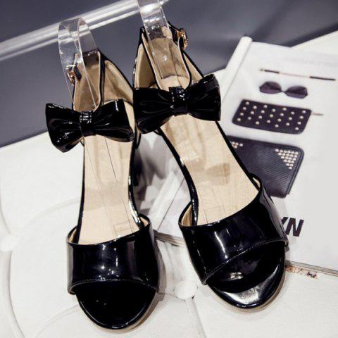 Buy Graceful Bow and Chunky Heel Design Sandals For Women -   Mobile