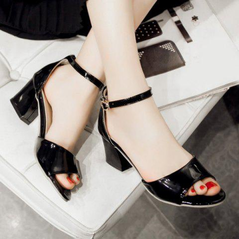 Trendy Graceful Bow and Chunky Heel Design Sandals For Women -   Mobile