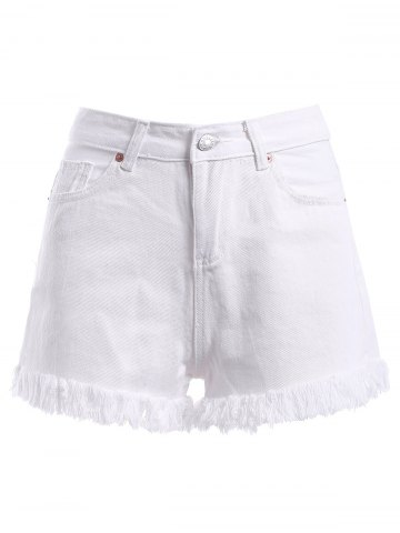 Cheap High-Waist Unedged Zipper Fly Jeans Shorts
