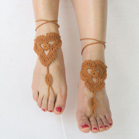 Latest Pair of Vintage Floral Woven Sandal Anklets For Women