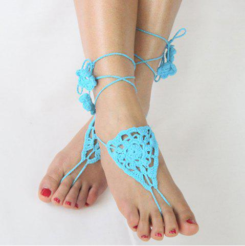 Hot Pair of Vintage Floral Triangle Woven Girl Sandal Anklets - LAKE BLUE  Mobile