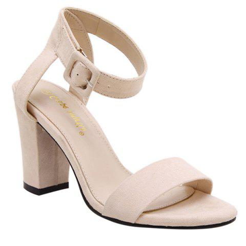 Fancy Simple Suede and Ankle Strap Design Sandals For Women