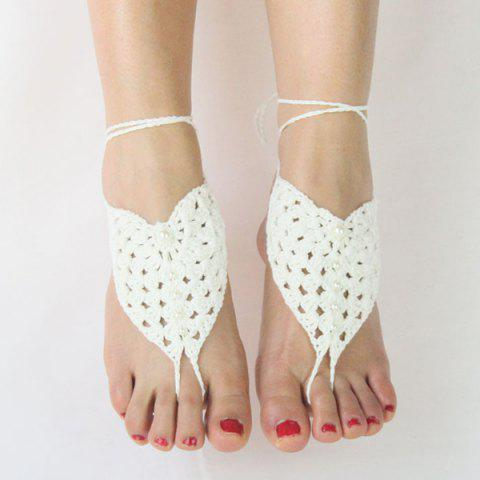 Sale Pair of Vintage Faux Pearl Woven Girl Sandal Anklets WHITE