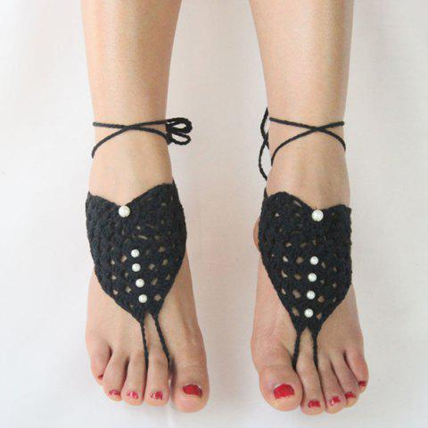 Discount Pair of Vintage Faux Pearl Woven Girl Sandal Anklets