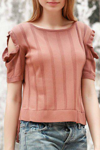 Online Stylish Jewel Neck Short Sleeve Cold Shoulder Jumper For Women