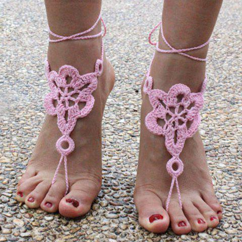 Hot Pair of Vintage Solid Color Floral Woven Sandal Toe Ring Anklet - PINK  Mobile