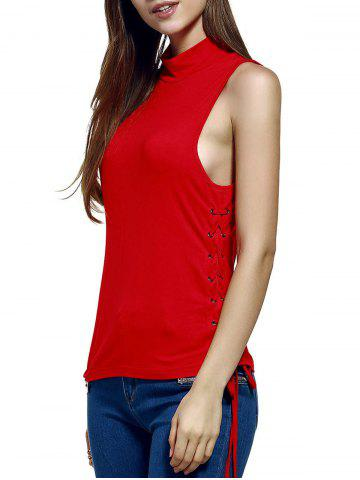 New Women's Trendy Stand Neck Pure Color Lace-Up Tank Top RED S