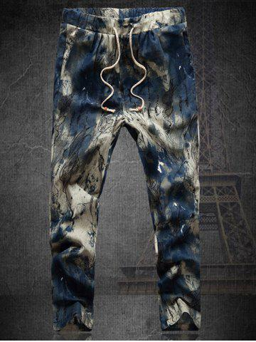 Store Plus Size Multicolor Lace-Up Straight Leg Tie-dyed Nine MInutes of Pants For Men
