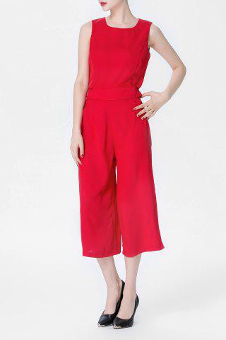 Store Red Tank Top and High Waist Wide Leg Pants Suit