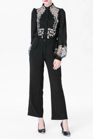Discount Lantern Sleeve Embroidery Shirt and Black Flare Pants Twinset