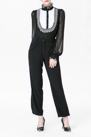 Shops Ruffled Printed Shirt and Black Straight Pants Suit