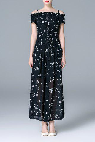 Latest Off The Shoulder Printed T-Shirt and Wide Leg Pants Suit