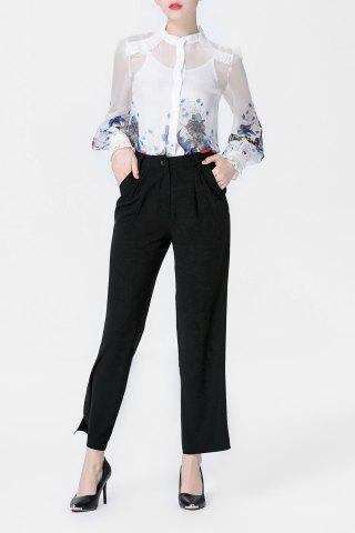 Shops Printed Shirt and Cami Tank Top and Black Wide Leg Pants Suit