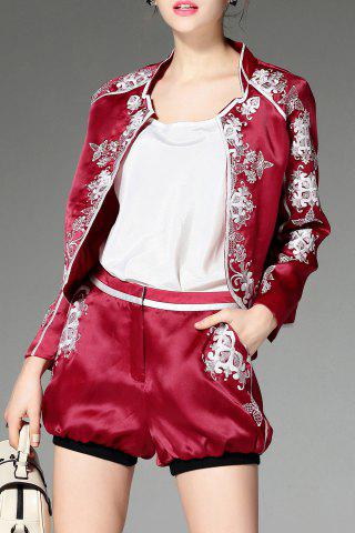 Shops Stand Neck Floral Embroidery Jacket and Shorts Twinset